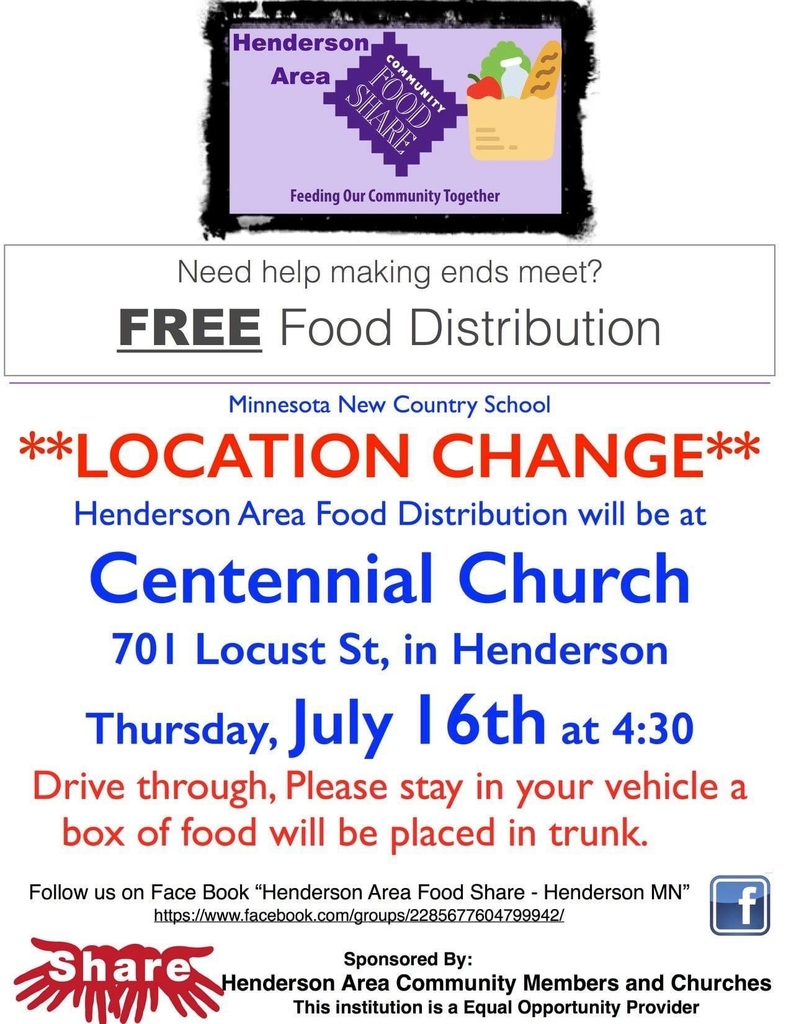 Henderson area food share- 3rd Thursday of every month.
