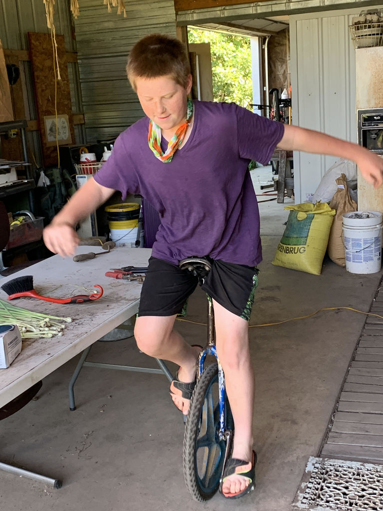 Miles learning to unicycle!
